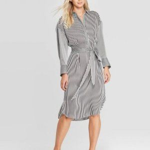 Striped Button-Down A Line Midi Dress